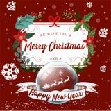 Fundo do Feliz Natal e do ano novo feliz, rex da árvore e presente ilustração stock