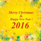 Fundo 2016 do Feliz Natal e do ano novo feliz Neve no fundo do ouro Fotos de Stock Royalty Free
