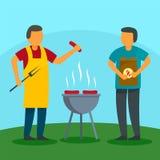Fundo do feriado do BBQ da família em casa, estilo liso ilustração do vetor