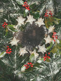 Fundo do feriado com ramo e luzes reais do pinho Imagens de Stock