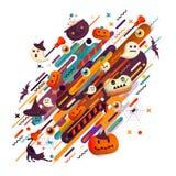 Fundo do feriado de Dia das Bruxas com abóboras, aranhas e crânios Fundo abstrato com laranja, filatelia e cor preta do salão Fotos de Stock