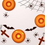 Fundo do feriado de Dia das Bruxas com abóboras e bastões das aranhas Imagens de Stock