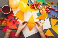 Fundo do feriado de DIY, decorações da festa de anos Imagem de Stock