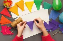 Fundo do feriado de DIY, decorações da festa de anos Imagens de Stock Royalty Free