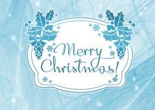 Fundo do feriado de inverno com Feliz Natal do ` do texto do cumprimento! ` Fotos de Stock Royalty Free