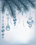 Fundo do feriado de inverno com ramos e decoração do abeto de prata Foto de Stock