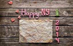 Fundo do feriado do ano novo do doce 2014 Fotos de Stock Royalty Free