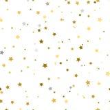 Fundo do feriado, teste padrão sem emenda com estrelas Ouro e prata Fotos de Stock