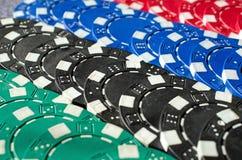 Fundo do fim acima de microplaquetas de pôquer Imagem de Stock Royalty Free