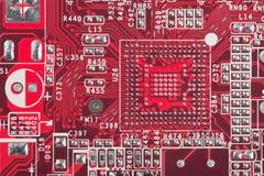 Fundo do fim vermelho da placa de circuito acima Foto de Stock