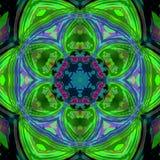 Fundo do fractal do floco de neve da telha, floco de neve da mola ou flor verde Foto de Stock