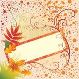 Fundo do frame do vetor de Grunge com folhas do outono. Fotos de Stock Royalty Free