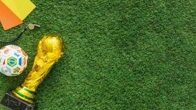 Fundo do futebol com copyspace no direito Imagens de Stock Royalty Free