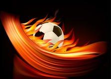Fundo do futebol do incêndio com uma esfera de futebol Imagens de Stock Royalty Free