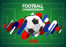 Fundo do futebol listras com uma bola de futebol em um fundo brilhante ilustração do vetor