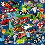 Fundo do futebol Teste padrão sem emenda Atributos do futebol, jogadores de futebol de equipes diferentes, bolas, estádios, grafi ilustração stock