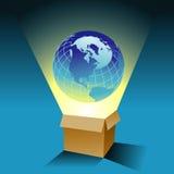 Fundo do globo e da caixa Fotografia de Stock