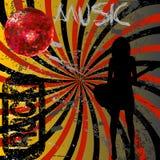 Fundo do Grunge com a menina com guitarra Imagem de Stock Royalty Free