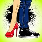 Fundo do Grunge com pés das mulheres e dos homens ilustração stock
