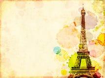 Fundo do Grunge com textura de papel velha, manchas da pintura e torre Eiffel fotografia de stock royalty free