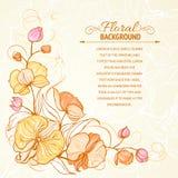 Fundo do grunge do Sepia com impressão da orquídea. Fotografia de Stock Royalty Free