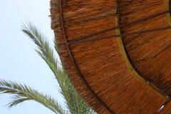 Fundo do guarda-chuva de praia de bambu Conceito tropical do feriado Foto de Stock