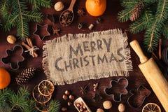 Fundo do inverno do cartão do feriado do Feliz Natal Fotos de Stock