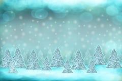 Fundo do inverno com árvores de Natal Fotos de Stock Royalty Free
