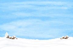 Fundo do inverno com casas e cervos Imagem de Stock Royalty Free