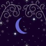 Fundo do inverno com flocos de neve, estrelas, a lua crescente e a neve ilustração royalty free