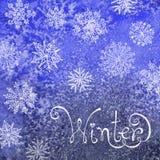Fundo do inverno com flocos de neve Pintura Imagem de Stock Royalty Free