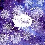 Fundo do inverno com flocos de neve Pintura Imagens de Stock