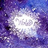 Fundo do inverno com flocos de neve Pintura Imagem de Stock