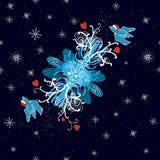 Fundo do inverno com pássaros do doodle, corações e Fotos de Stock Royalty Free
