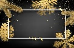 Fundo do inverno com ramos e flocos de neve do abeto Imagens de Stock