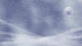 Fundo do inverno com tempestade da neve, e lua, sutable para o tema do Natal ilustração do vetor