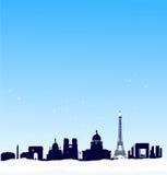 Fundo do inverno do vetor. Skyline da silhueta de Paris Foto de Stock Royalty Free