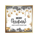 Fundo do inverno do Natal com ramos, bolas e snowfla do abeto Fotos de Stock Royalty Free