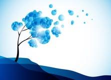 Fundo do inverno, uma árvore na neve ilustração royalty free