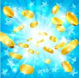 Fundo do jackpot das moedas e das estrelas de ouro do dinheiro ilustração do vetor