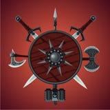 Fundo do jogo da fantasia Bandeira do vetor com armas antigas Espada, machado e protetor Imagens de Stock