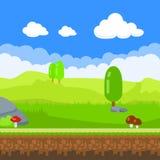 fundo do jogo Paisagem da natureza dos desenhos animados, fundo infinito com solo, pedras, árvores, cogumelos e camadas do céu ne Imagens de Stock
