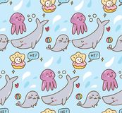 Fundo do kawaii do animal de mar ilustração do vetor