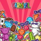 Fundo do kawaii do partido do carnaval Gatos bonitos da etiqueta, decorações para a celebração, objetos e símbolos Foto de Stock Royalty Free