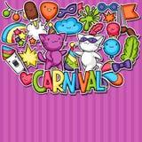 Fundo do kawaii do partido do carnaval Gatos bonitos da etiqueta, decorações para a celebração, objetos e símbolos Fotos de Stock Royalty Free