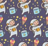 Fundo do kawaii do espaço com astronauta e planeta do gelado ilustração royalty free