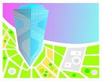 Fundo do mapa com o 3D-model da construção Foto de Stock Royalty Free