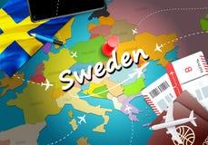 Fundo do mapa do conceito do curso da Suécia com planos, bilhetes Curso da Suécia da visita e conceito do destino do turismo Band ilustração royalty free
