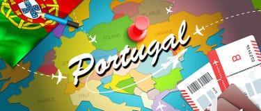 Fundo do mapa do conceito do curso de Portugal com planos, bilhetes Curso de Portugal da visita e conceito do destino do turismo  ilustração royalty free