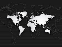 Fundo do mapa de mundo, branco preto Fotografia de Stock Royalty Free